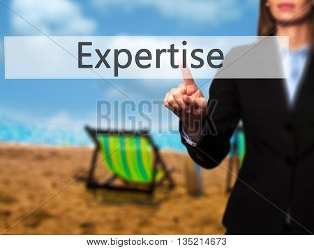 Expertise - Businesswoman Hand Pressing Button On Touch Screen Interface.