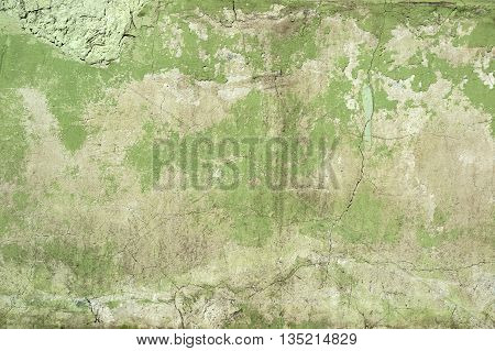Green concrete wall texture, ancient grunge background