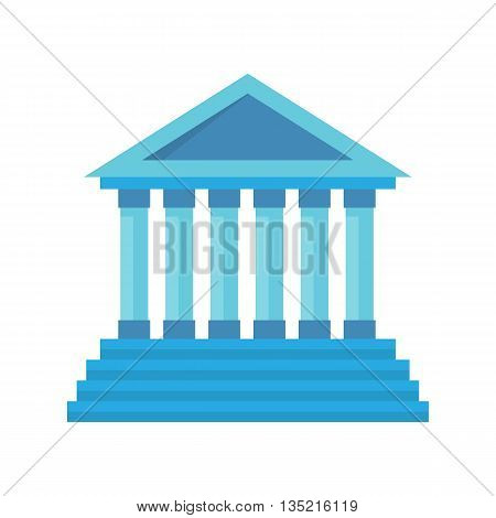 Bank building facade. Bank isolated vector icon. Blue bank building with column. Classic court illustration
