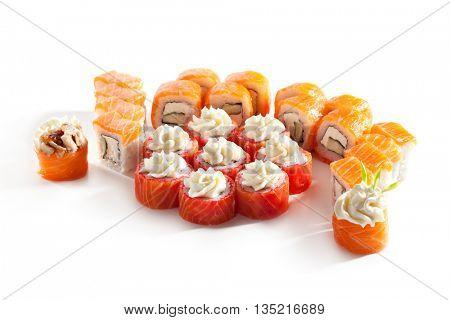 Set of Salmon Maki Sushi with Cream Cheese