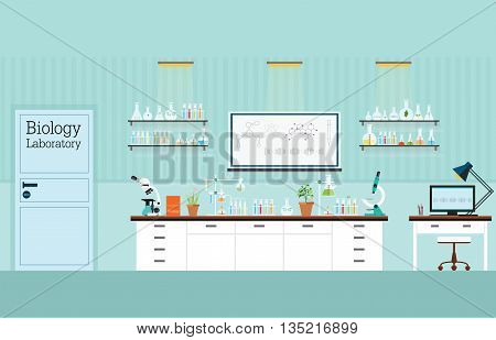 Biology Science lab interior or laboratory room biology education concept vector illustration.