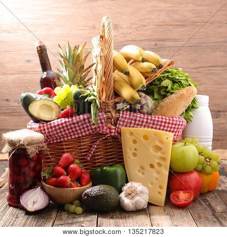 basket with assorted food