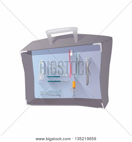 Tools and items on the theme of stomatology. Tool set for dental medicine design flat. Suitcase with tools dentist. Care and hygiene dentistry for tooth equipment for stomatology. Vector illustration