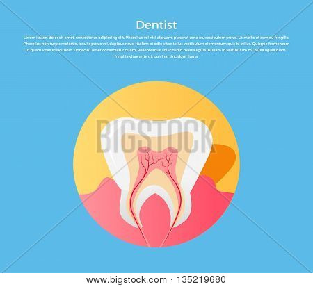 Dental care tooth icon. Dentist concept. Vector illustration