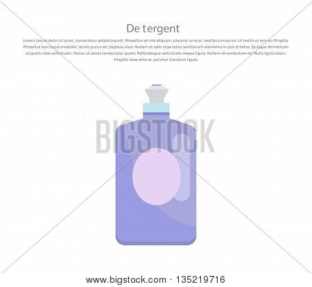 Plastic bottle for liquid laundry detergent or cleaning agent or bleach or fabric softener. Domestic and bottle, equipment clean, housework and housekeeping. Vector illustration.