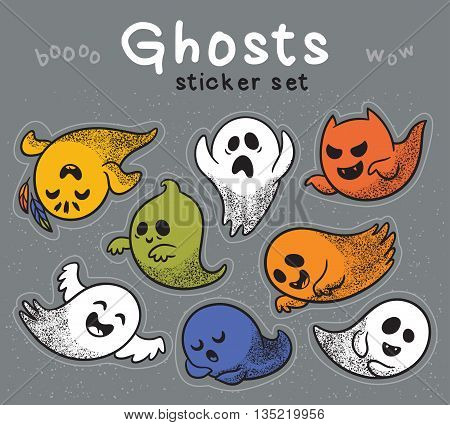 Collection stickers of cute spooky ghosts on gray background. Halloween set with ghosts child drawing style. Ghosts with Different Expressions