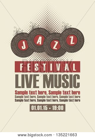 Musical poster depicting jazz festival vinyl records