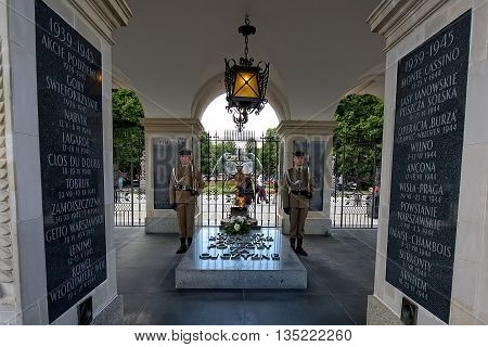Warsaw, Poland - June 11:The Tomb of the Unknown Soldier in Warsaw on June 11, 2016 in Poland
