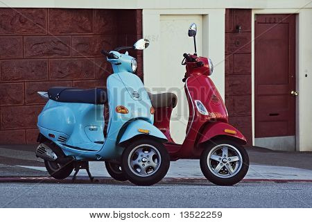Two Motorbikes On Downhill Street In San Francisco