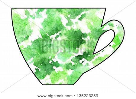 Cup of tea and coffee. Handmade. Watercolor Mixed media. Cut paper. Tea time. Green and White