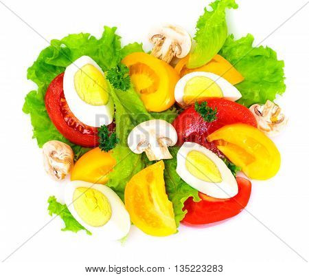 Lettuce with Tomato, Pepper and Boiled Egg on White