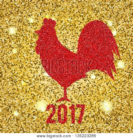 Glittering Red rooster. Sparkling on golden glittering background. Vector illustration of 2017 new year symbol