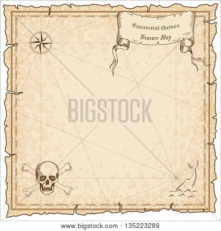 Equatorial Guinea Old Pirate Map. Sepia Engraved Template Of Treasure Map. Stylized Pirate Map On Vi