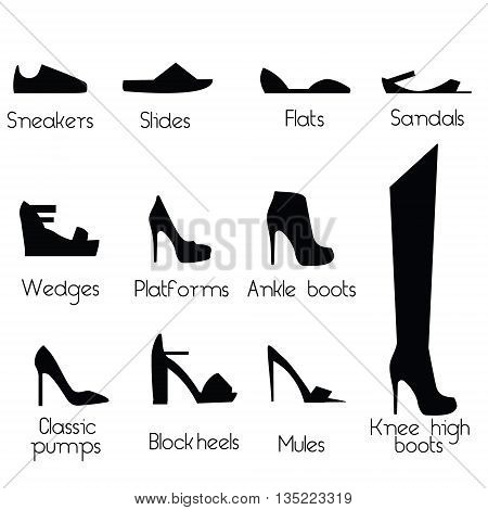 Women shoes models. Popular shoes types for women isolated icons fashion design elements