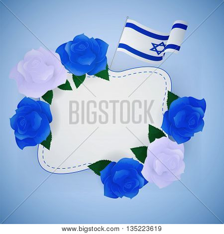 Jewish israel background with roses and Israeli flag.