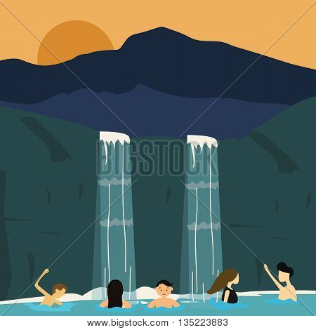 peoples swim in waterfall boys and girls illustration vector