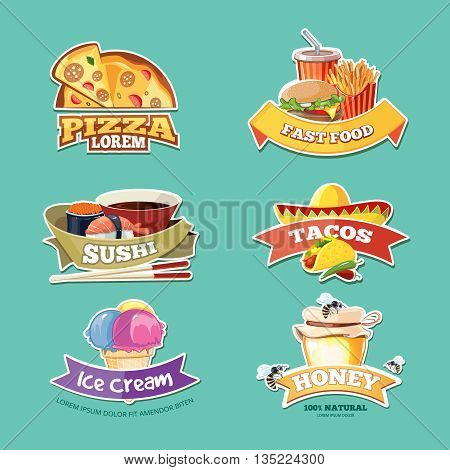 vector emblem set with food illustrations. European, Mexican, Itallian, japan food, ice cream and honey.