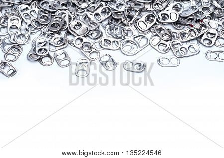 Metal ring pull can on white background