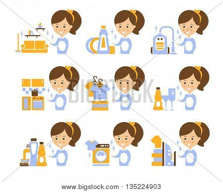Cleaning Service Girl And Finished Tasks Set Of Illustrations In Stylized Simplified Flat Vector Cartoon Stickers