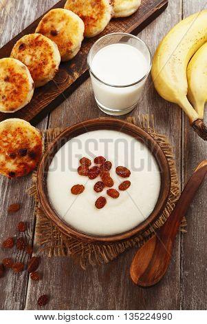 Semolina Porridge And Cheese Pancakes