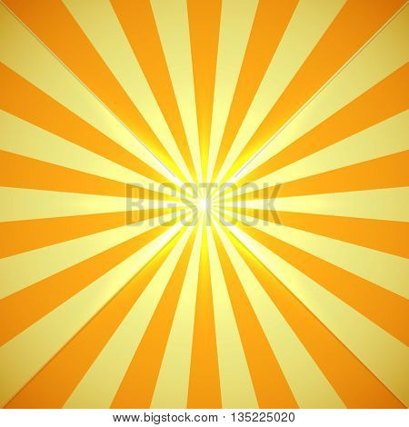 Yellow sun burst with light flare in the center vector background. Bright yellow summer background.