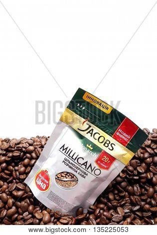 Kiev, Ukraine - June 15, 2016: Package of coffee Jacobs