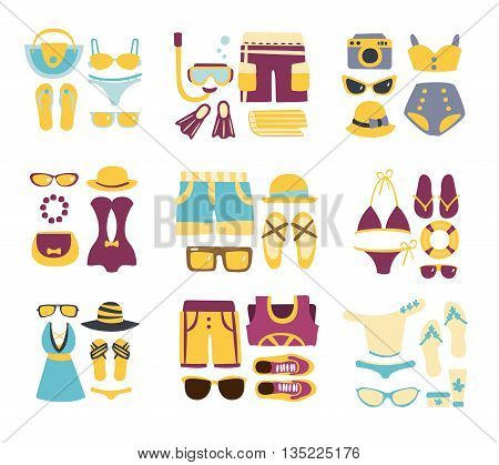Beach Outfit Combinations Of Clothing And Accessories In Simple Flat Vector Style Flat Illustrations On White Background