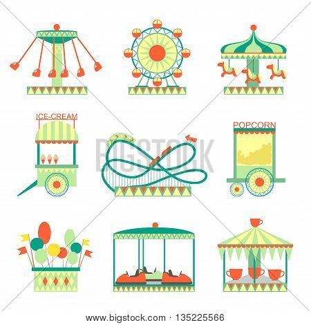 Amusement Park Elements Set Of Cartoon Style Flat Vector Illustrations Isolated On White Background