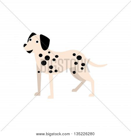 Dalmatian Dog Breed Primitive Cartoon Illustration In Simplified Vector Design Isolated On White Background