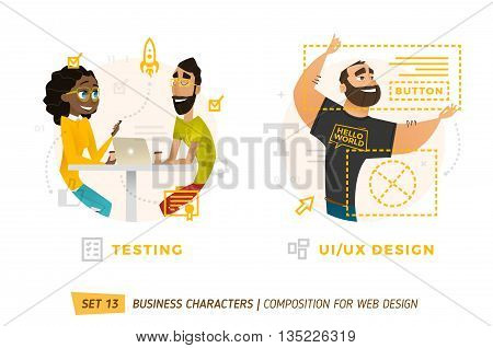 Business characters in circle. Elements for web design. Man working with frame. Two coworkers in cafe