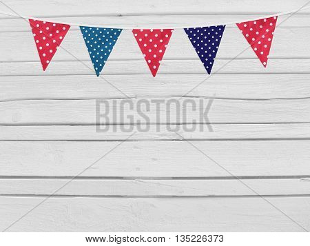 Birthday baby shower mockup scene. Party flags decoration. Wooden background. Empty space for your text top view.