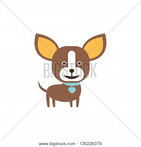 Chihuahua Dog Breed Primitive Cartoon Illustration In Simplified Vector Design Isolated On White Background