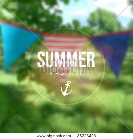 Birthday garden party. Brazilian june party. Festa junina. Party decoration flags. Modern blurred background. Vector illustration.