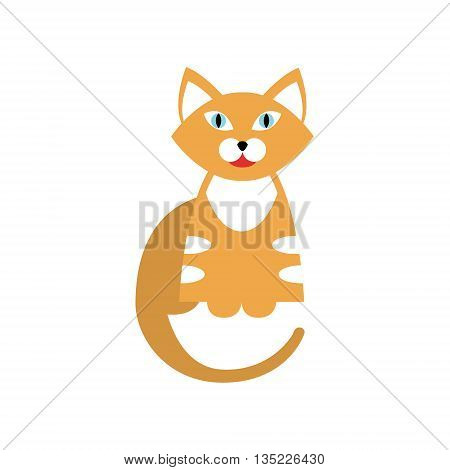Red Tiger Cat Breed Primitive Cartoon Illustration In Simplified Vector Design Isolated On White Background