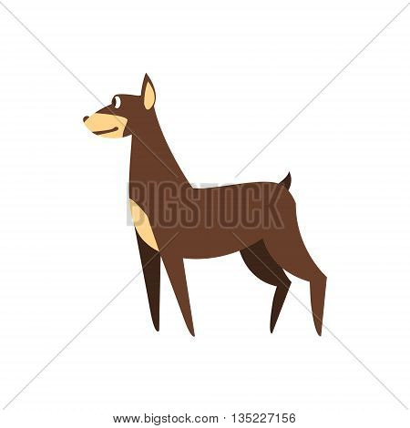 Pincher Dog Breed Primitive Cartoon Illustration In Simplified Vector Design Isolated On White Background