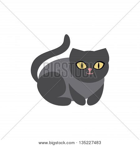 Black Cat Breed Primitive Cartoon Illustration In Simplified Vector Design Isolated On White Background