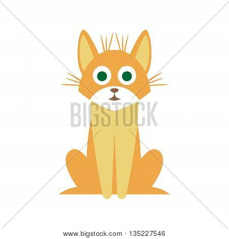 Mutt Cat Primitive Cartoon Illustration In Simplified Vector Design Isolated On White Background