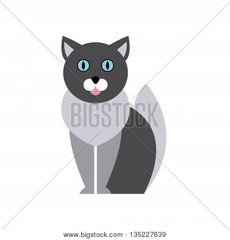 British Blue Cat Breed Primitive Cartoon Illustration In Simplified Vector Design Isolated On White Background