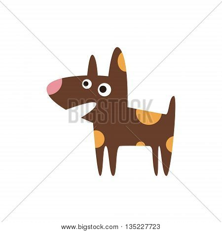 Pit Bull Dog Breed Primitive Cartoon Illustration In Simplified Vector Design Isolated On White Background