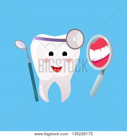 Concept of Dentistry Banner Poster. Cartoon tooth with dental instruments looking in the mirror for happy smile design flat style. Medicine stomatology placard with space for text vector illustration