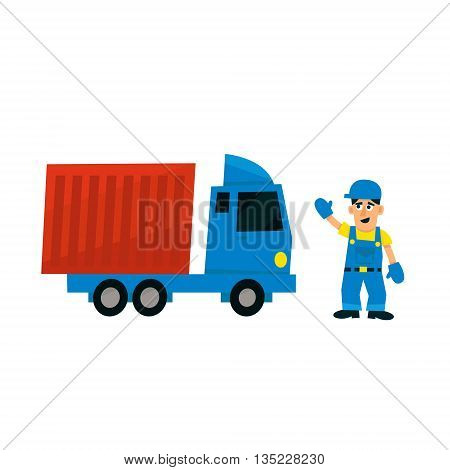 Worker And Delievery Truck Simplified Flat Vector Design Colorful Illustration On White Background