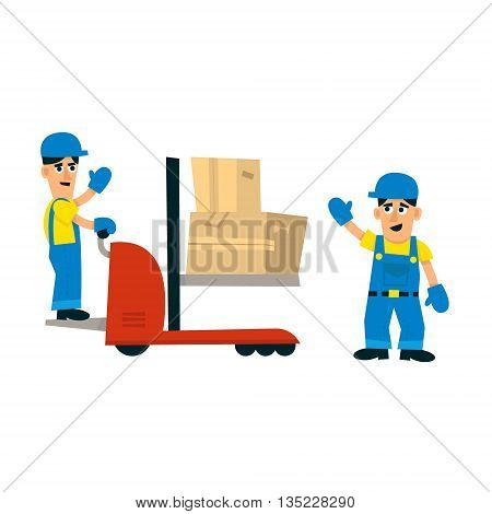 Two Workers And Forklift Machine Simplified Flat Vector Design Colorful Illustration On White Background