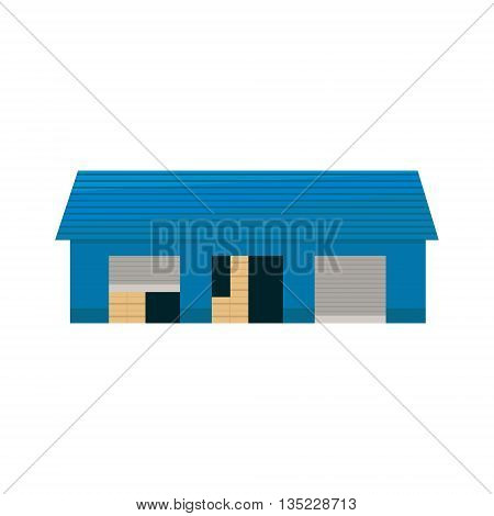 Blue Storehouse Building Simplified Flat Vector Design Colorful Illustration On White Background