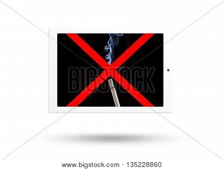 Tablet computer with no smoke sign isolated over white background