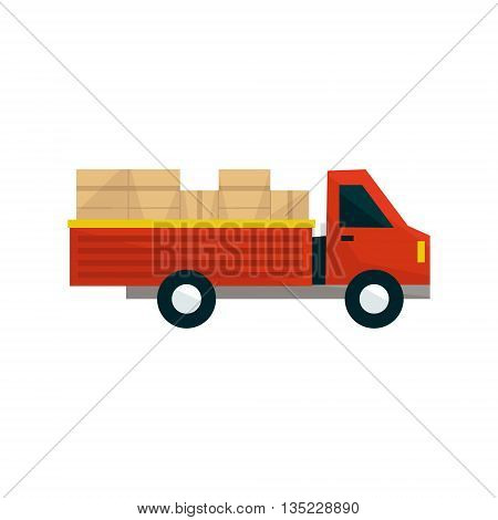 Open Deck Cargo Truck Simplified Flat Vector Design Colorful Illustration On White Background