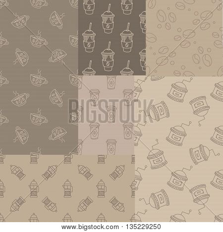 Mosaic Collection Of Seamless Coffee Themed Patterns In Trendy Sketch Flat Vector Design On Brown Background