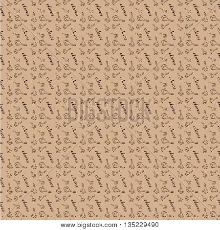 Vector seamless pattern with cloves, hand drawn vector illustration. Brown clove, kraft background. Hand-drawn, vector. Texture, illustration for web design, paper