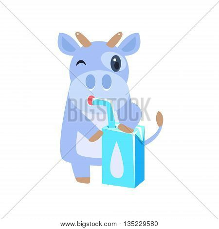 Cow Drinking Milk From Carton Box With Straw Flat Childish Simple Style Vector Drawing Isolated On White Background