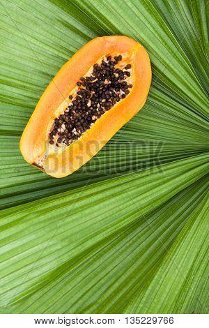 Close up on the half cut of fresh ripe papaya on green palm leaf.