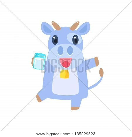 Cow Dancing With Glass Of Milk Flat Childish Simple Style Vector Drawing Isolated On White Background
